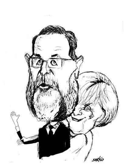 Mariano Rajoy y Angela Merkel. Autor: Serko.